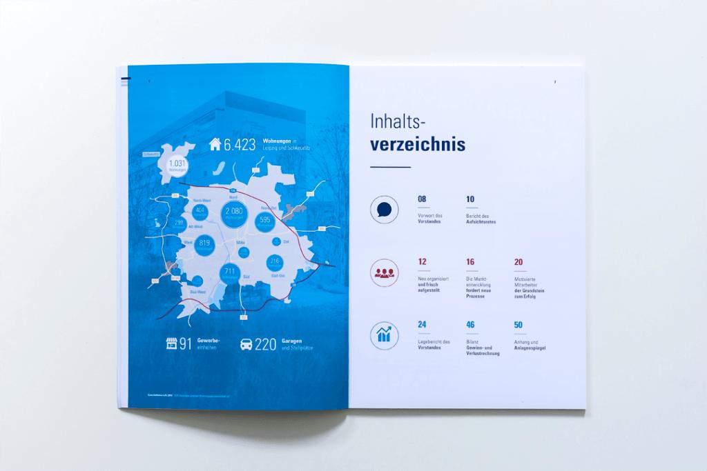 Piktogramme und ein Farbsystem führen durch den Geschäftsbericht enders Marketing